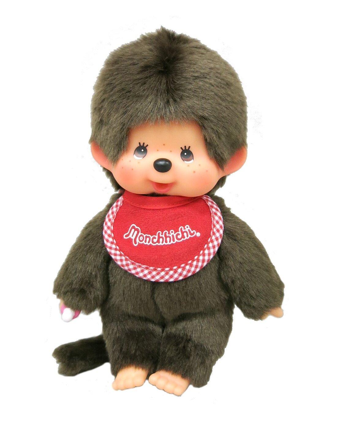 "Monchhichi Original Sekiguchi 8.45"" Tall Brown Boys Doll Standard with a Red Bib"