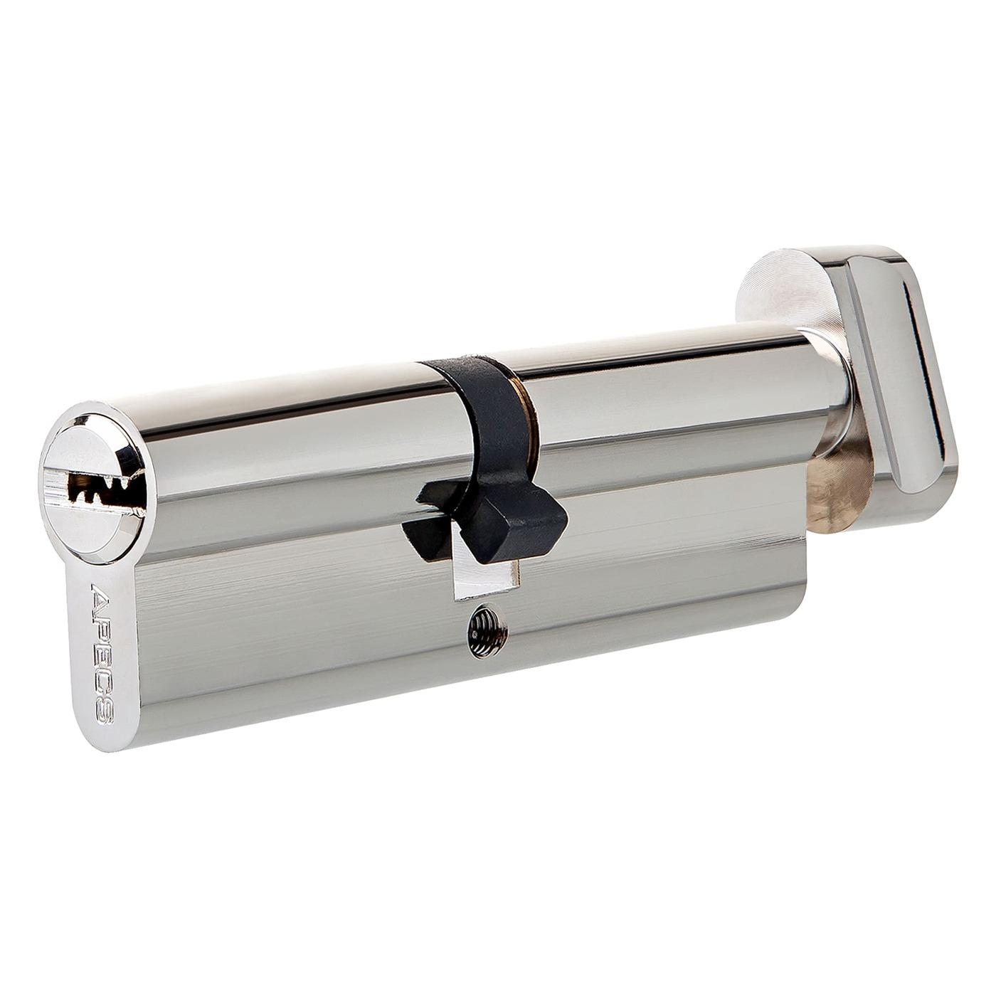 Цилиндр SM-80-C-NI, 40x40 мм, ключ/вертушка, цвет никель