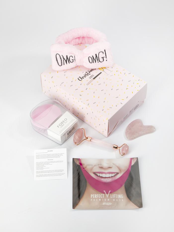 """EcoGoods Набор подарочный для нее """"Big Christmas"""", роллер и Гуаша для массажа лица из розового кварца, повязка OMG, щеточка для очищения лица, маска для подтяжки подбородка"""