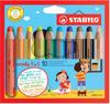 Набор STABILO Woody 3 в 1: карандаш + акварель + восковой мелок, утолщенные, 10 цветов - изображение