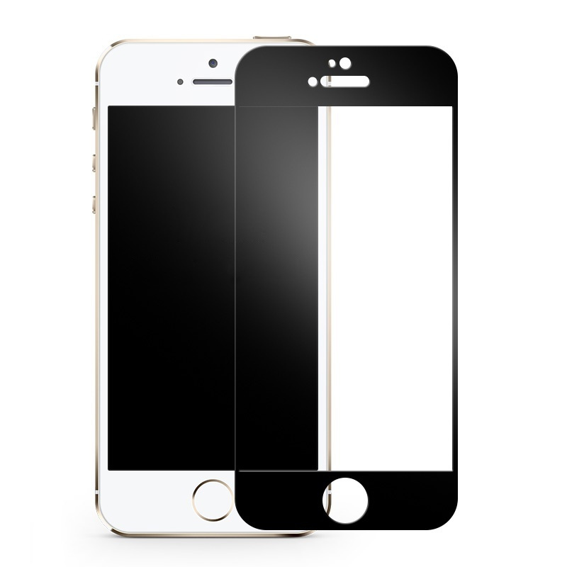 Защитное стекло GLASS 9D FULL GLUE для APPLE IPHONE 5/5S/SE черное #1