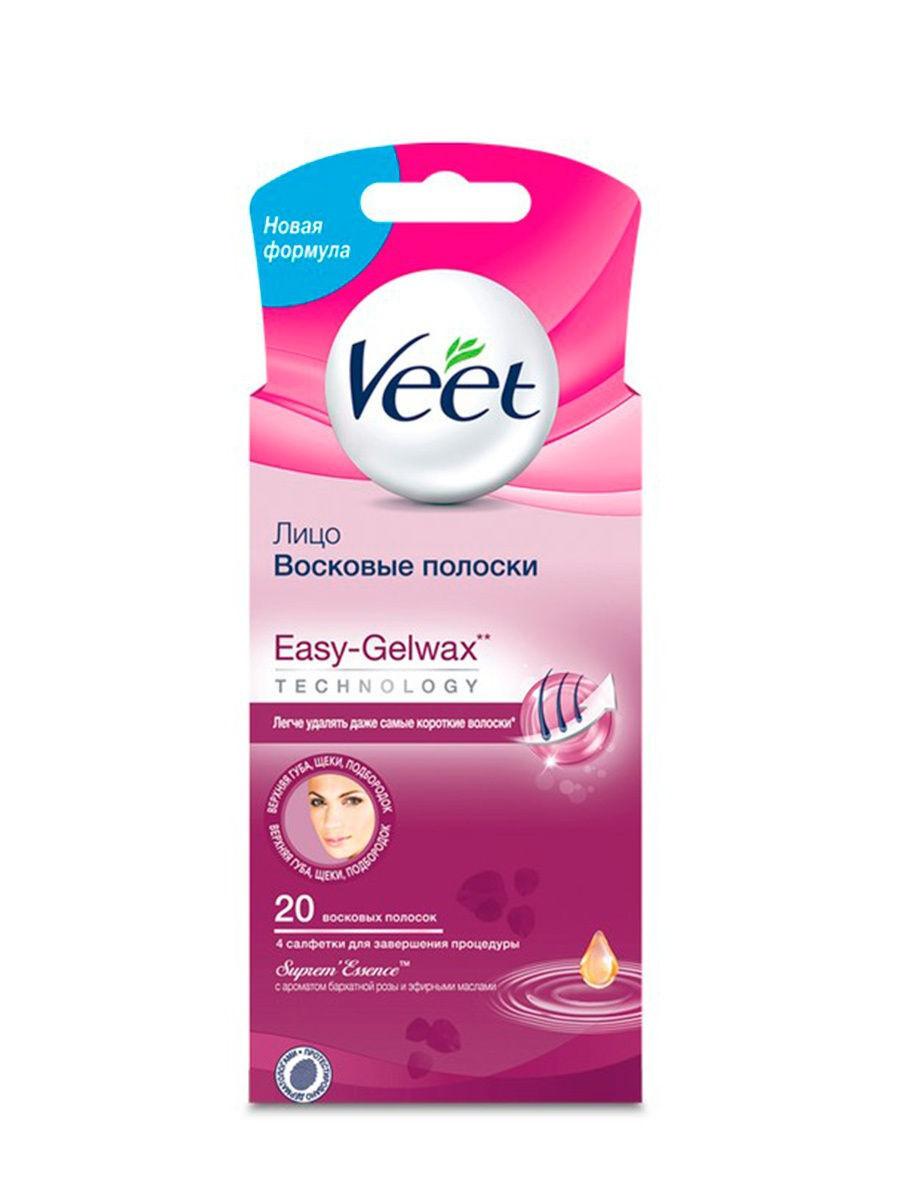 Veet Восковые полоски для лица c ароматом бархатной розы и эфирными маслами 20 шт  #1
