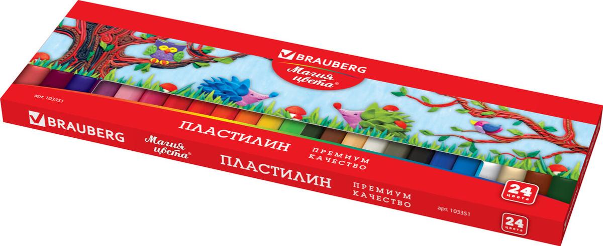 Пластилин классический Brauberg 24 цвета, 500 грамм, картонная упаковка, 103351  #1