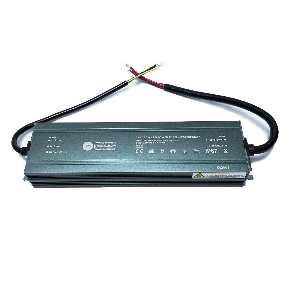 Блок питания для светодиодной ленты  BAEMAR, 24В, 200 Вт, IP67 #1