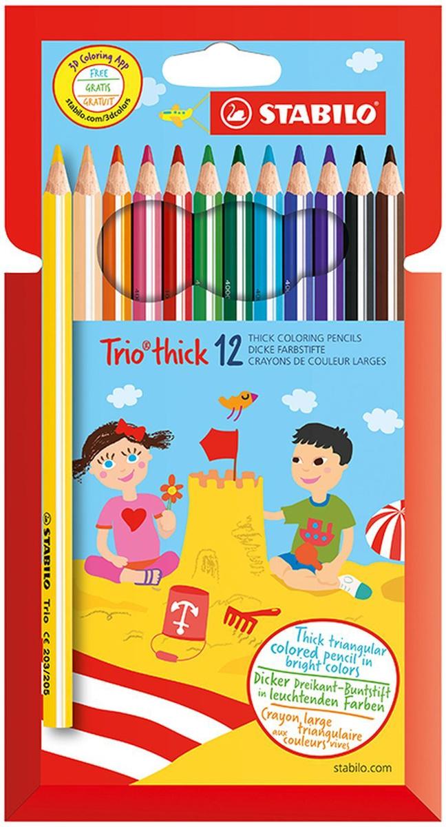 Карандаши цветные STABILO Trio, трехгранные, утолщенные, 12 цветов  #1
