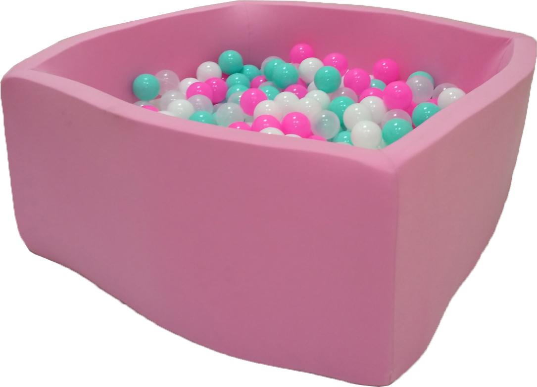 Сухой бассейн Розовая мечта Квадро выс. h40см с 200 шариками: розовый, белый, мятный, прозрачный домик bony в комплекте с шариками арка 92 92 90 100 шаров