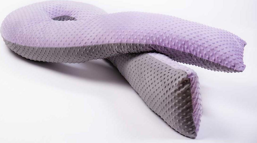 Двухцветная серо-сиреневая наволочка Minky на подушку для беременных MommyPillow U 360 см