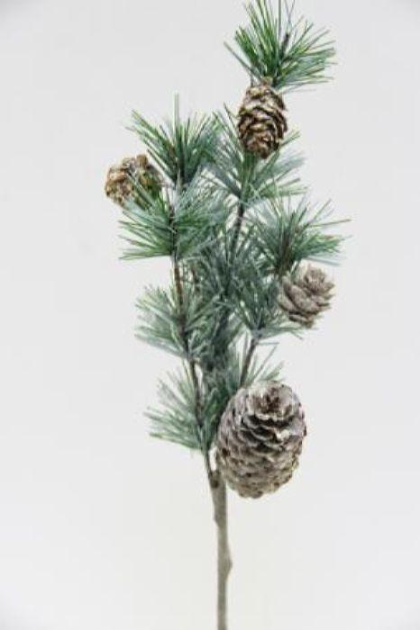 Ветка декоративная новогодняя, DN-53377, зеленый, длина 35 см