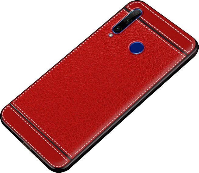 Чехол-накладка MyPads на Huawei Honor 10i из качественного износостойкого силикона с декоративным дизайном под кожу с тиснением красный