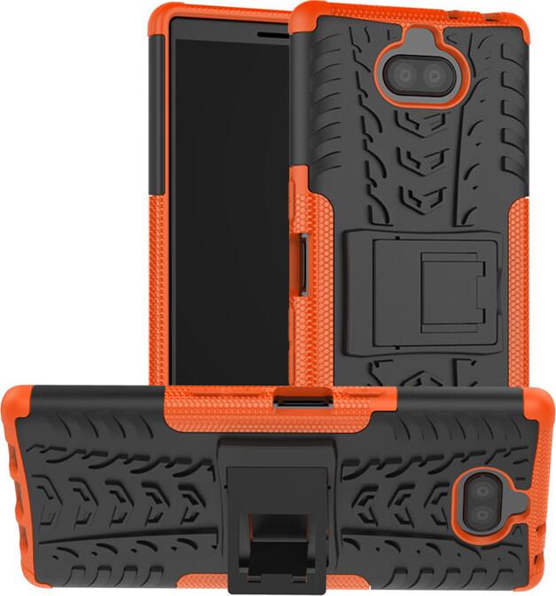Чехол-бампер MyPads для Sony Xperia 10 Plus противоударный усиленный ударопрочный оранжевый