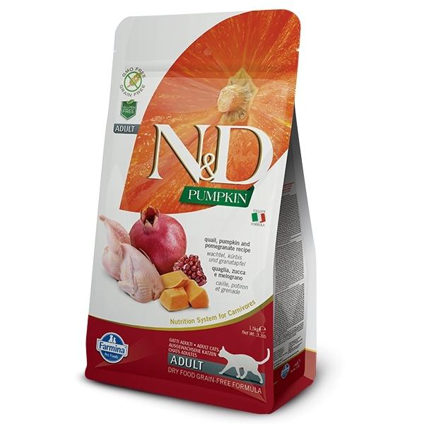 Беззерновой корм для кошек Farmina N&D GF Pumpkin Adult, со вкусом перепела, тыквы и гранатом, 300 гр