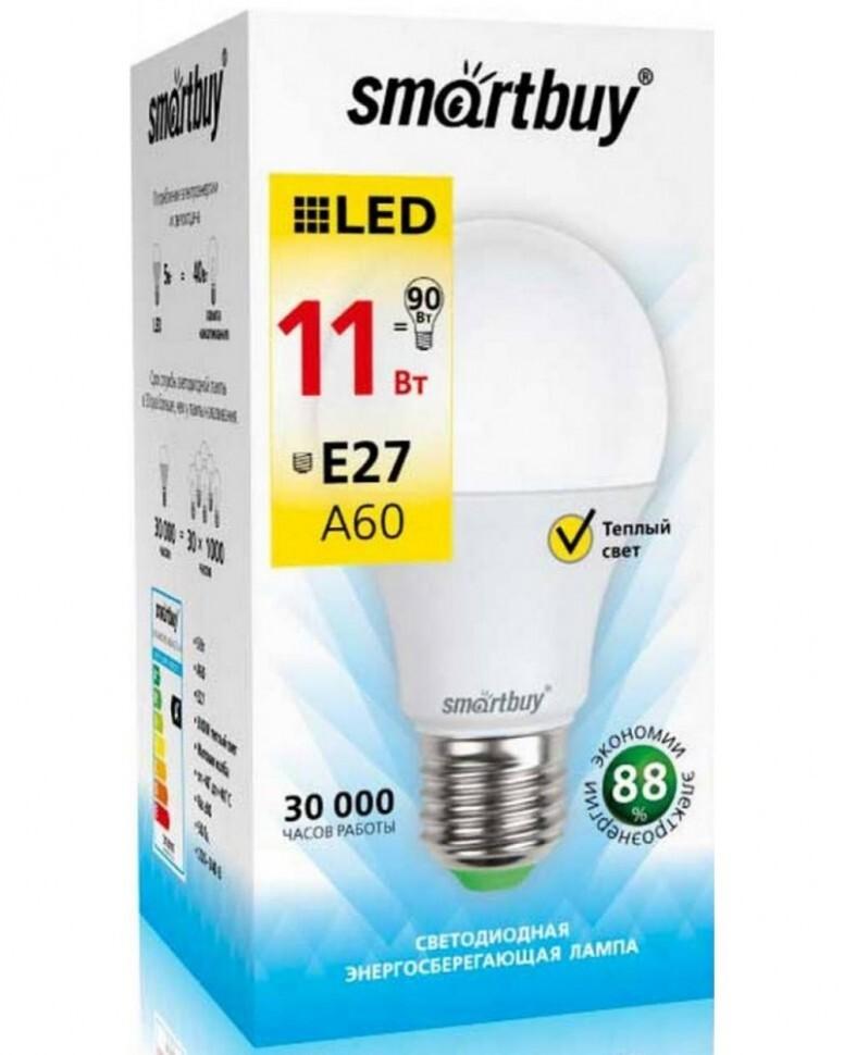 Лампочка SmartBuy SBL-A60-11-30K-E27-A, Теплый свет 11 Вт, Светодиодная