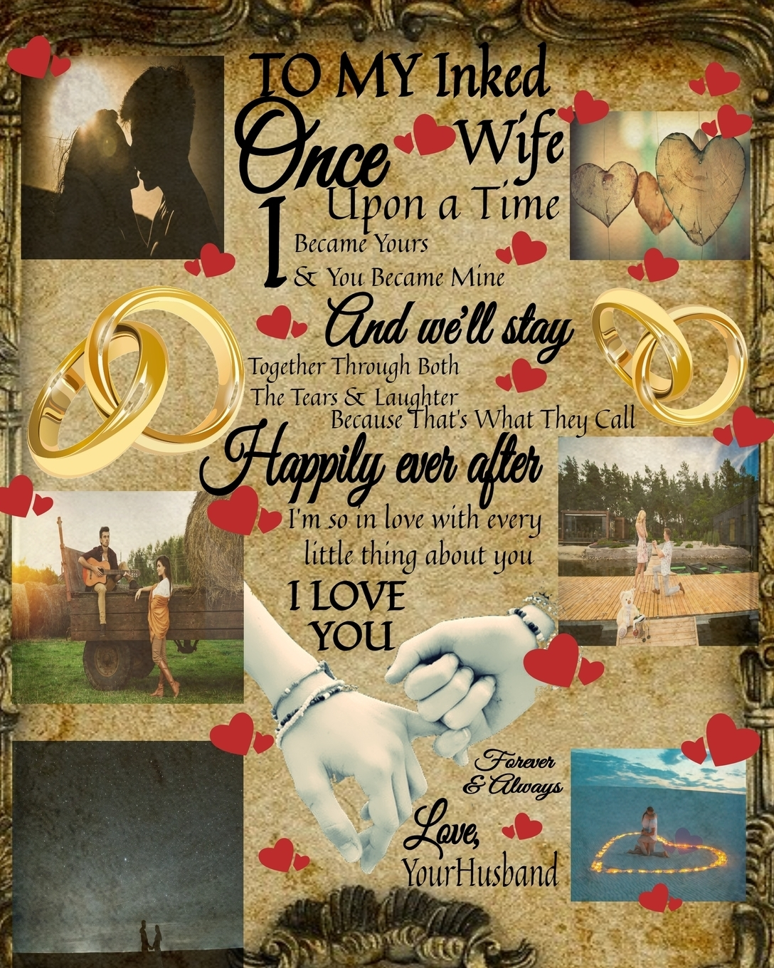 Scarlette Heart. To My Inked Wife Once Upon A Time I Became Yours & You Became Mine And We'll Stay Together Through Both The Tears & Laughter. 14th Anniversary Gifts For Her - Hubbie - Purposeful Journal To Write In Notes About Hubby