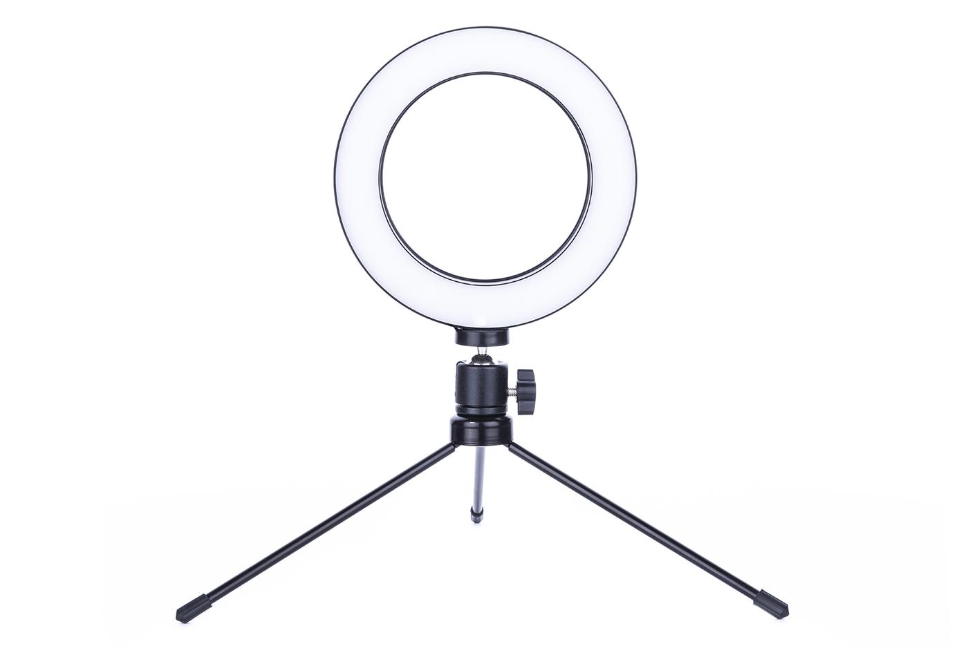 Кольцевая светодиодная лампа LK-16. Диаметр 16 см. С Bluetooth пультом управления. С настольным штативом. Для визажиста, блоггера и косметолога.