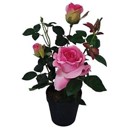 Растение искусственное Роза темно-розовая в кашпо D12 L41-19954