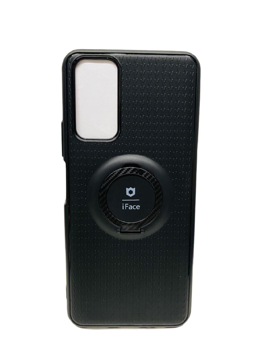 Комплект: Чехол CustCase силиконовый для Huawei Honor 10X Lite с магнитным держателем - кольцо iFace (черный)+ Защитное стекло (Черное)