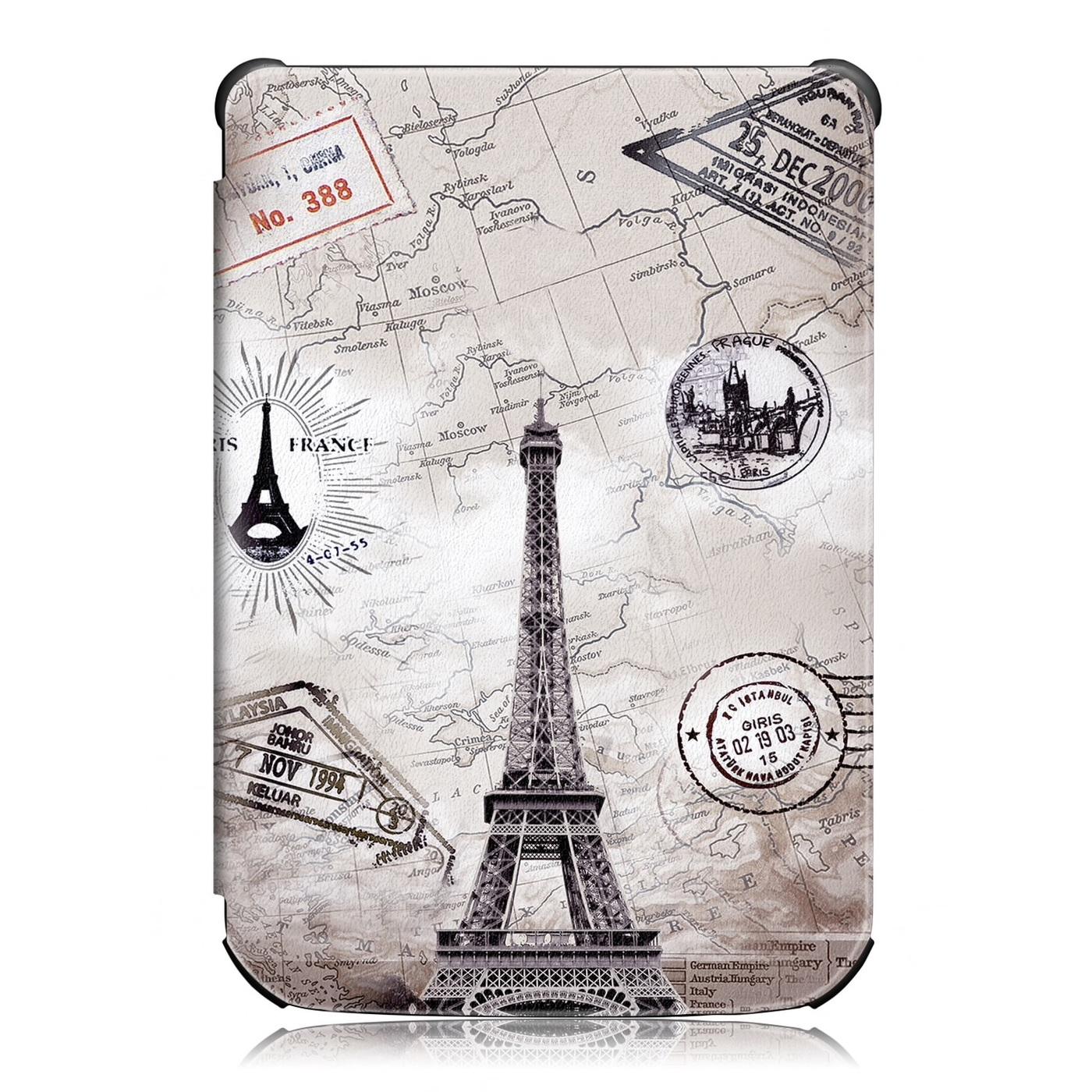 """чехол-обложка для электронной книги pocketbook 616/627/632 с рисунком """"эйфелева башня"""""""