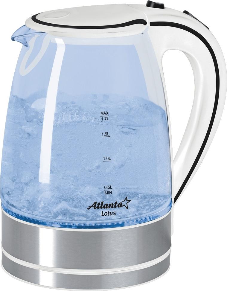 Электрический чайник Atlanta ATH-691, прозрачный, серебристый  #1