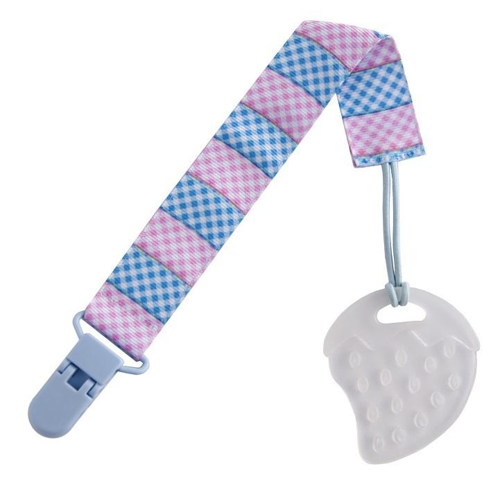 Прорезыватель на держателе ROXY-KIDS, цвет голубой-розовый (клеточка)  #1