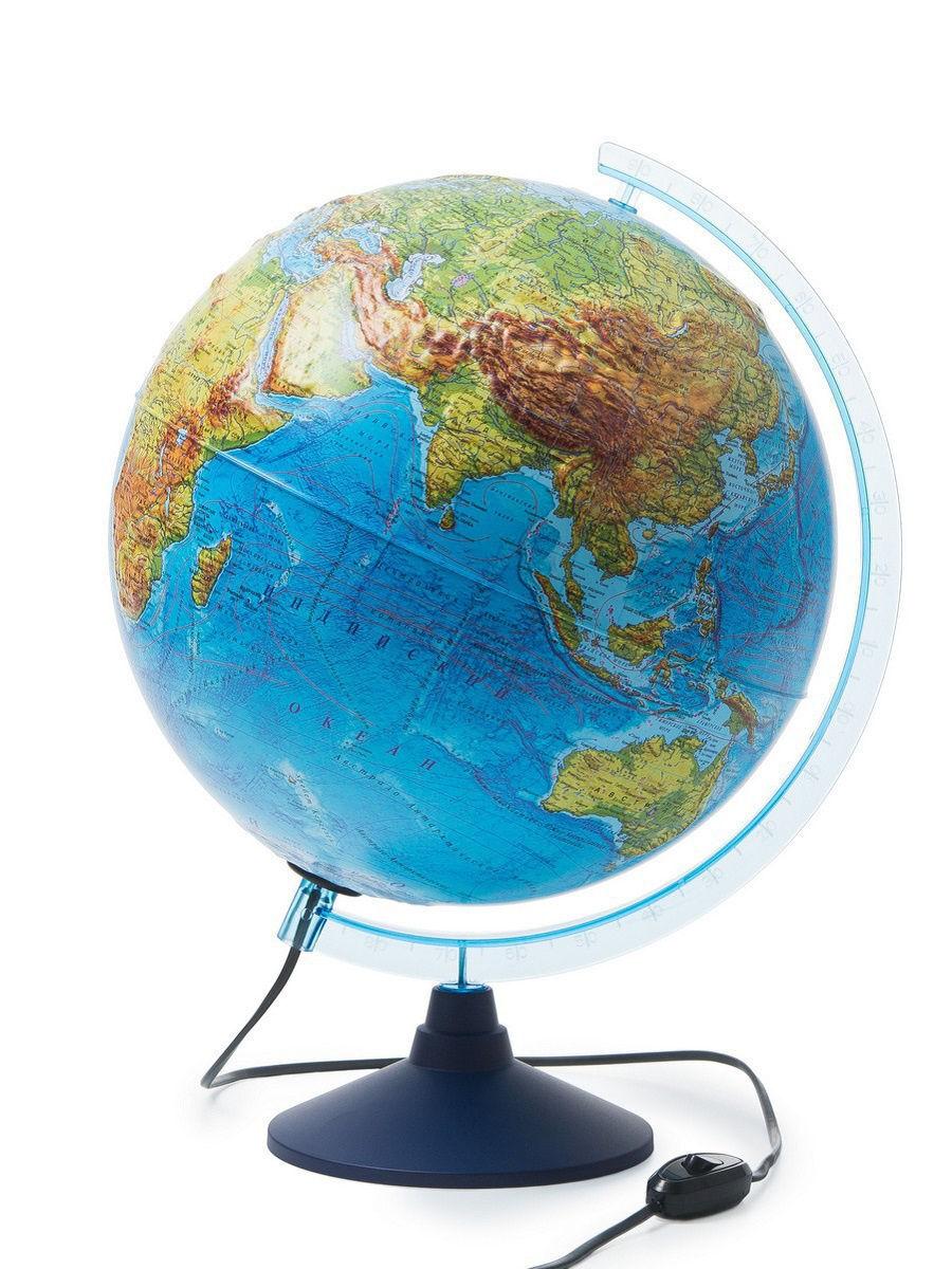 Интерактивный рельефный глобус Земли физико-политический, 32 см., с подсветкой + VR очки  #1