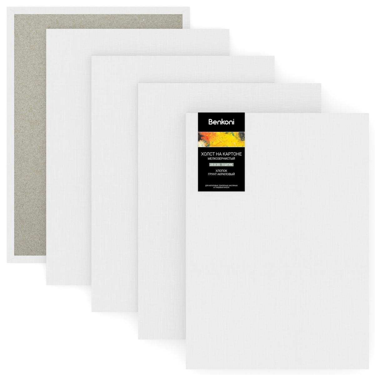 Набор холстов на картоне, грунтованный мелкозернистый хлопок 280 г/м2, 25х35 см, 5 шт  #1