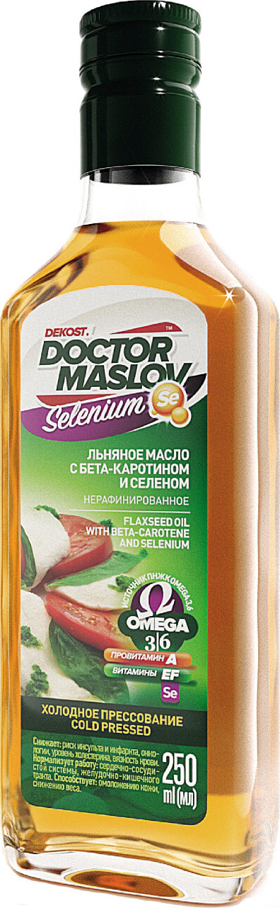 Льняное масло с бета-каротином и селеном Doctor Maslov. Selenium, купажированное, нерафинированное, холодного отжима, 250 мл, стекло