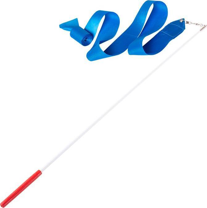 Лента для художественной гимнастики Amely RGR-201, 6 м, с палочкой 56 см, голубая лента для художественной гимнастики amely agr 201 длина 6 м с палочкой 56 см цвет розовый