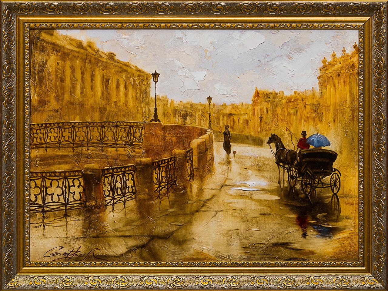 Картина маслом Санкт-Петербург Гаджиева картина маслом санкт петербург вид с дворцового моста ильин