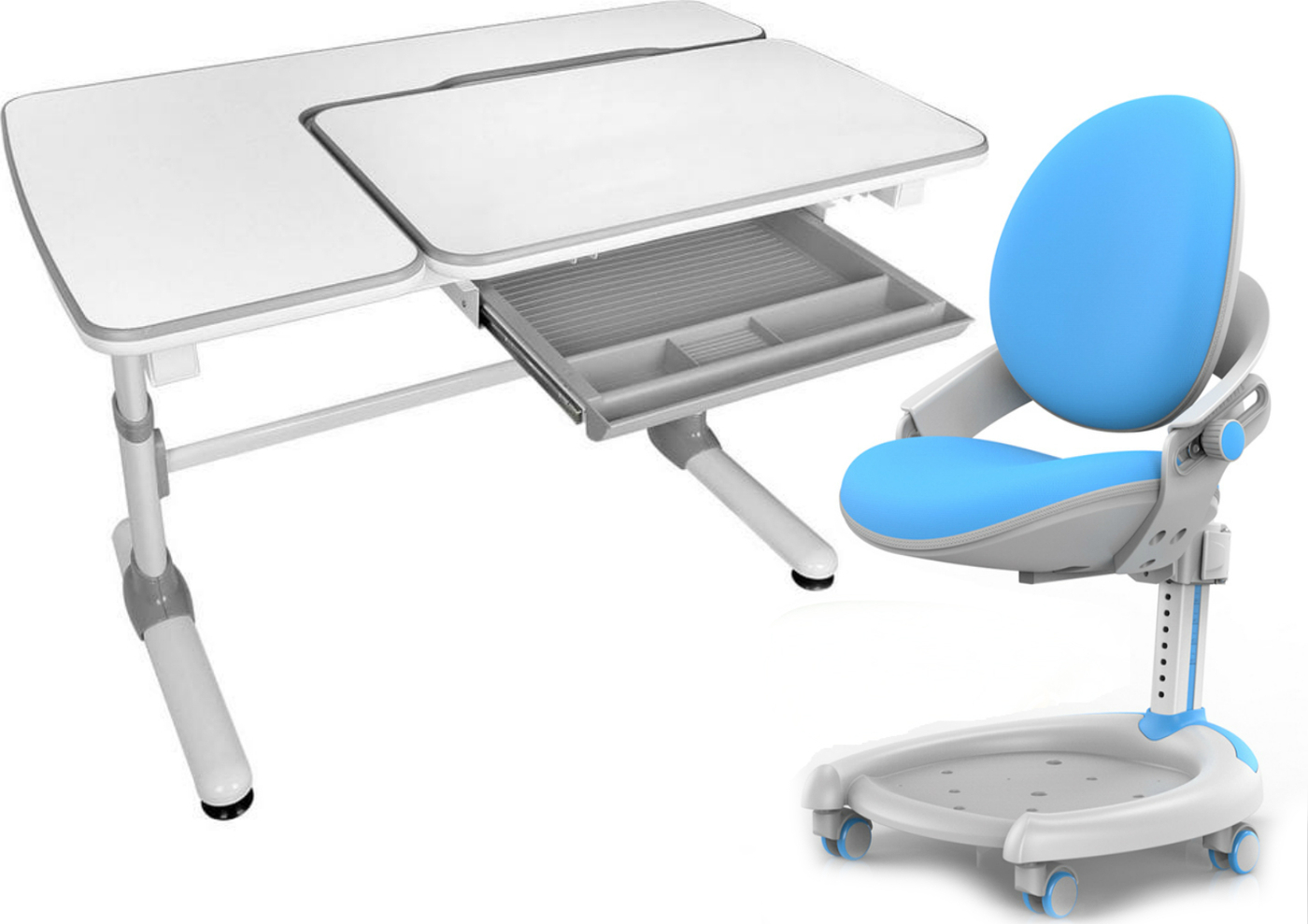 Комплект Mealux Парта Darwin с креслом ZMAX-15 Plus и прозрачной накладкой на парту 65х45