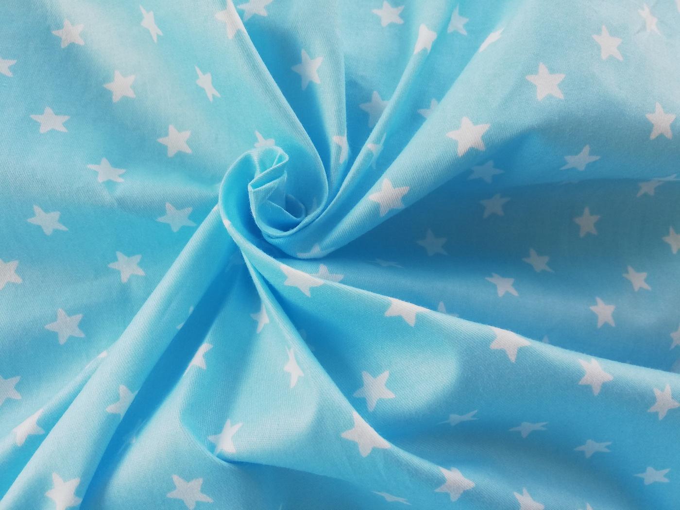 Ткань Звездочки белые на голубом Сатин 100*160 см
