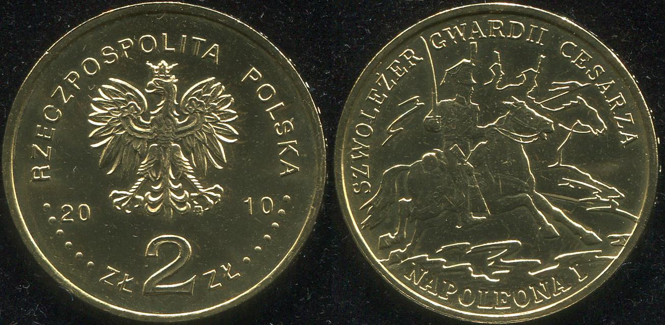 Монета. Польша 2 злотых. 2010 (KM.Y.718. Unc) Шеволежер кавалерии Наполеона I