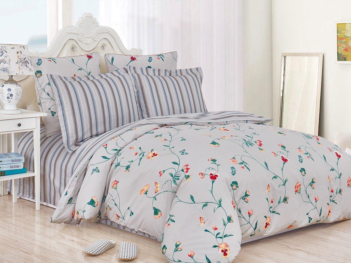 Комплект постельного белья Cleo Satin de' Luxe Лауренци, 20/527-SK, светло-серый, 2-спальный, наволочки 70x70