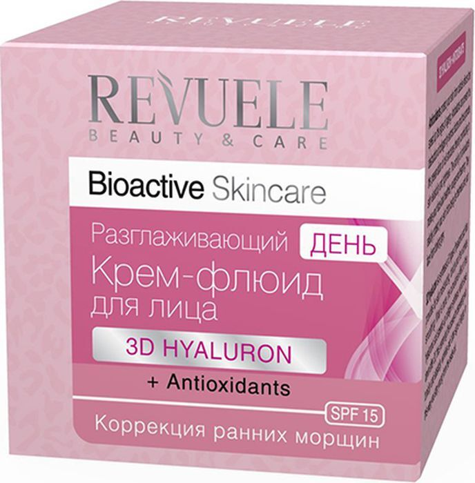 Крем-флюид для лица дневной Revuele Bioactive Skincare 3D Hyaluron+Antioxidants, разглаживающий, 50 мл Revuele