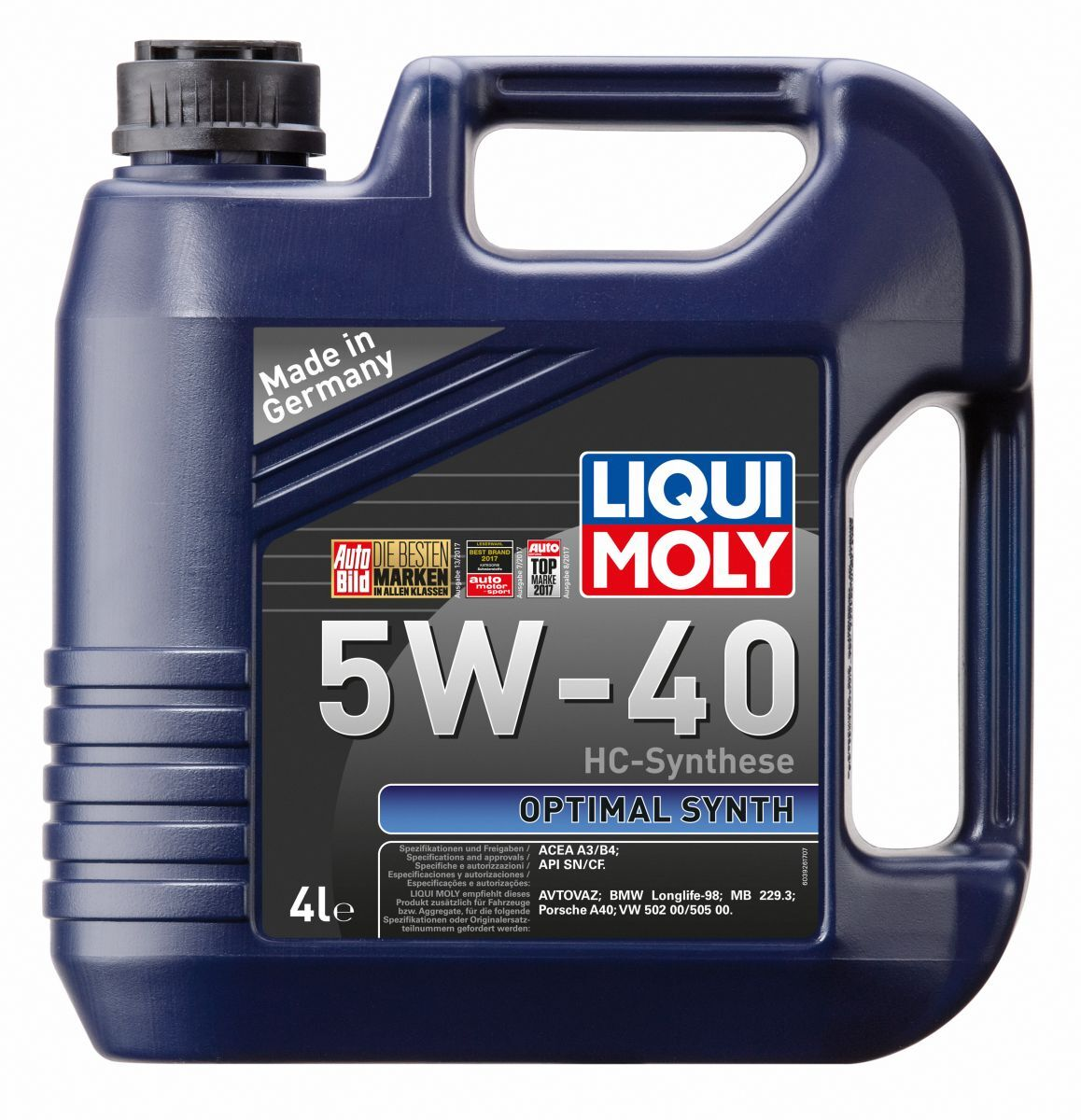 3926 LiquiMoly НС-синт. мот.масло Optimal Synth 5W-40 CF/SN A3/B4 (4л) 3926