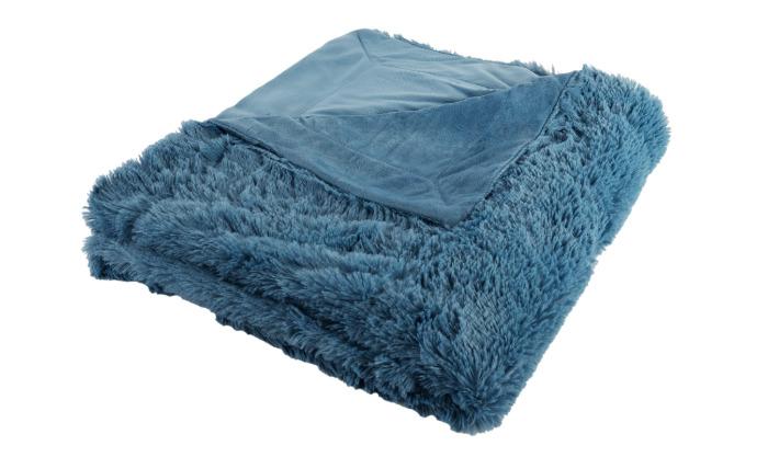 Плед декоративный 200х220 см, цвет синий-21097