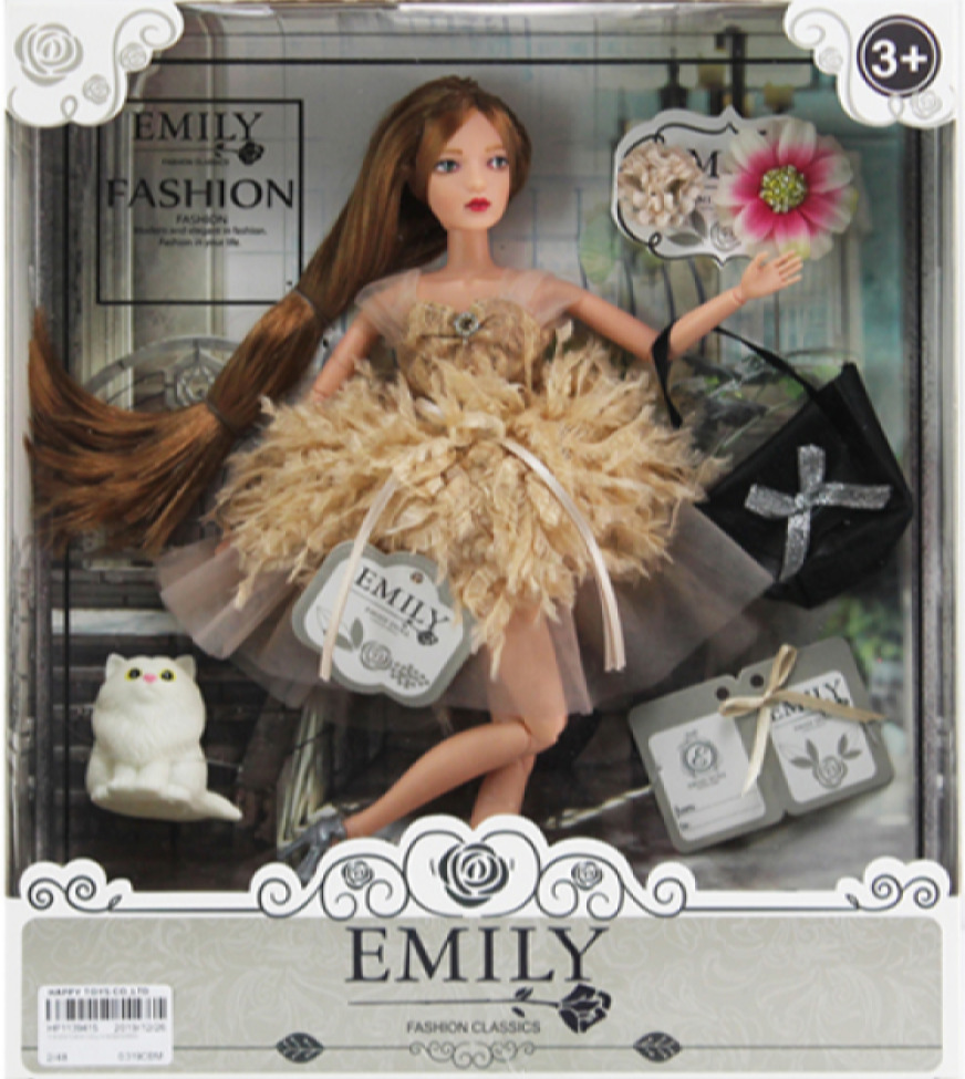 """Набор оригинальной детской куклы Эмили """"В воздушной юбочке"""" с аксессуарами / Большая дизайнерская кукла в подарок для девочек от 3 лет / 28 см"""