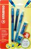 Набор STABILO LeftRigth: ручка + карандаш + ластик + точилка + грифели, для правшей, для обучения письму, голубой - изображение