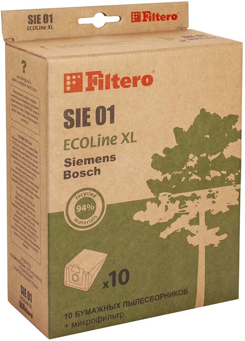 Мешок-пылесборник Filtero SIE 01 ECOLine XL, для Bosch, Siemens, бумажный, 10 шт + фильтр  #1