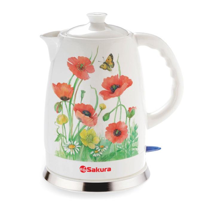 Электрический чайник Sakura SA-2028MN, белый, красный #1