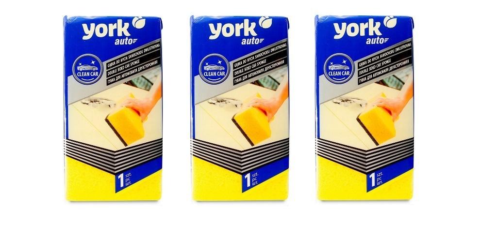 Губка для автомобиля York Auto, двусторонняя 3 шт, Размер губки: 21 х 10,5 х 6,5 см.  #1