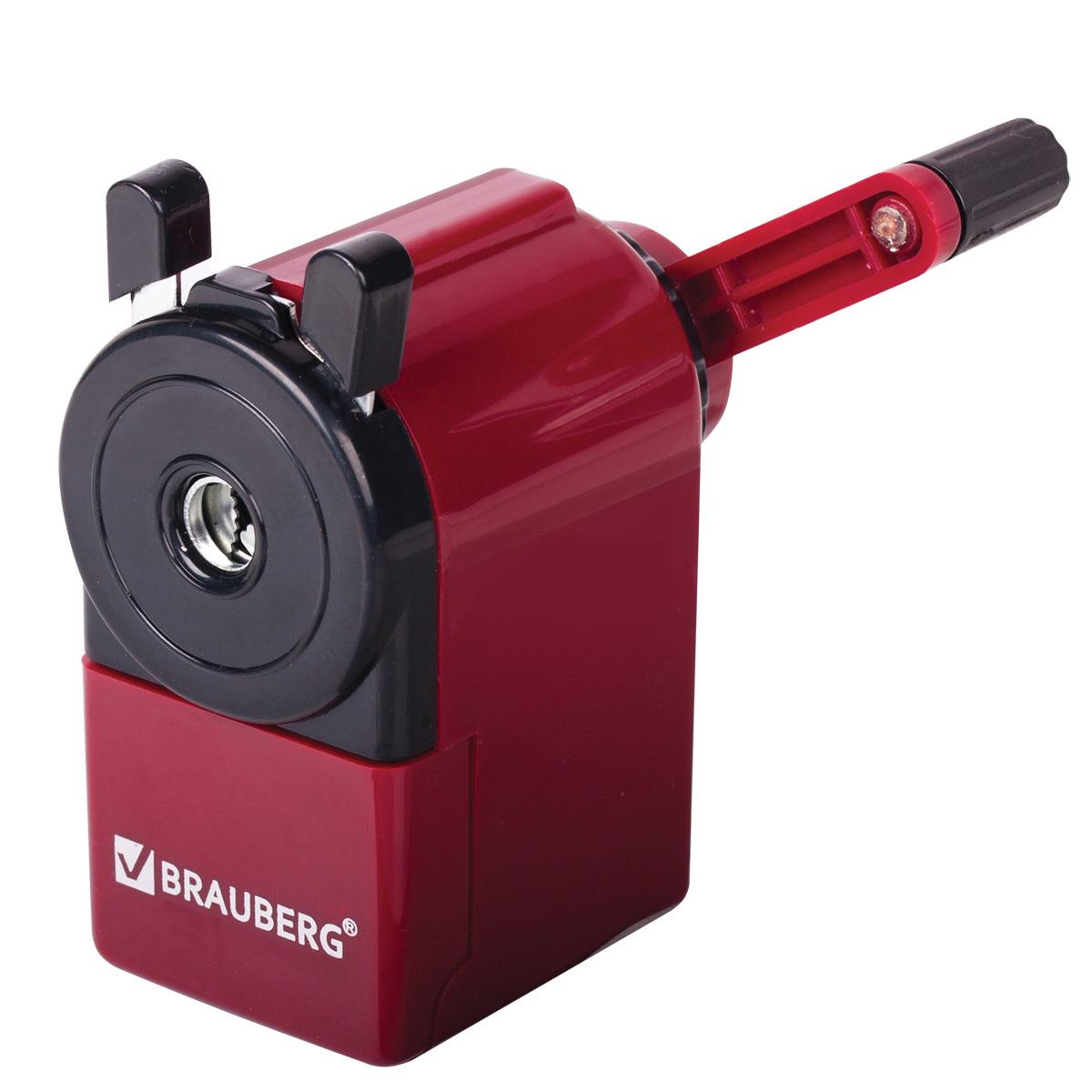 Точилка механическая Brauberg Jet, металлический механизм, черный/бордовый  #1