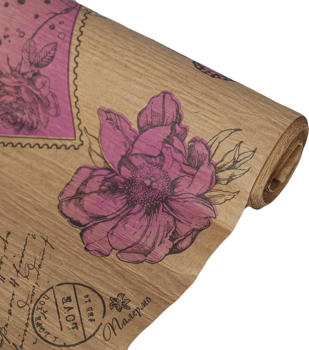 Бумага упаковочная Палермо, эколюкс крепированный, 4114443, сиреневый, черный, 70 см х 5 м