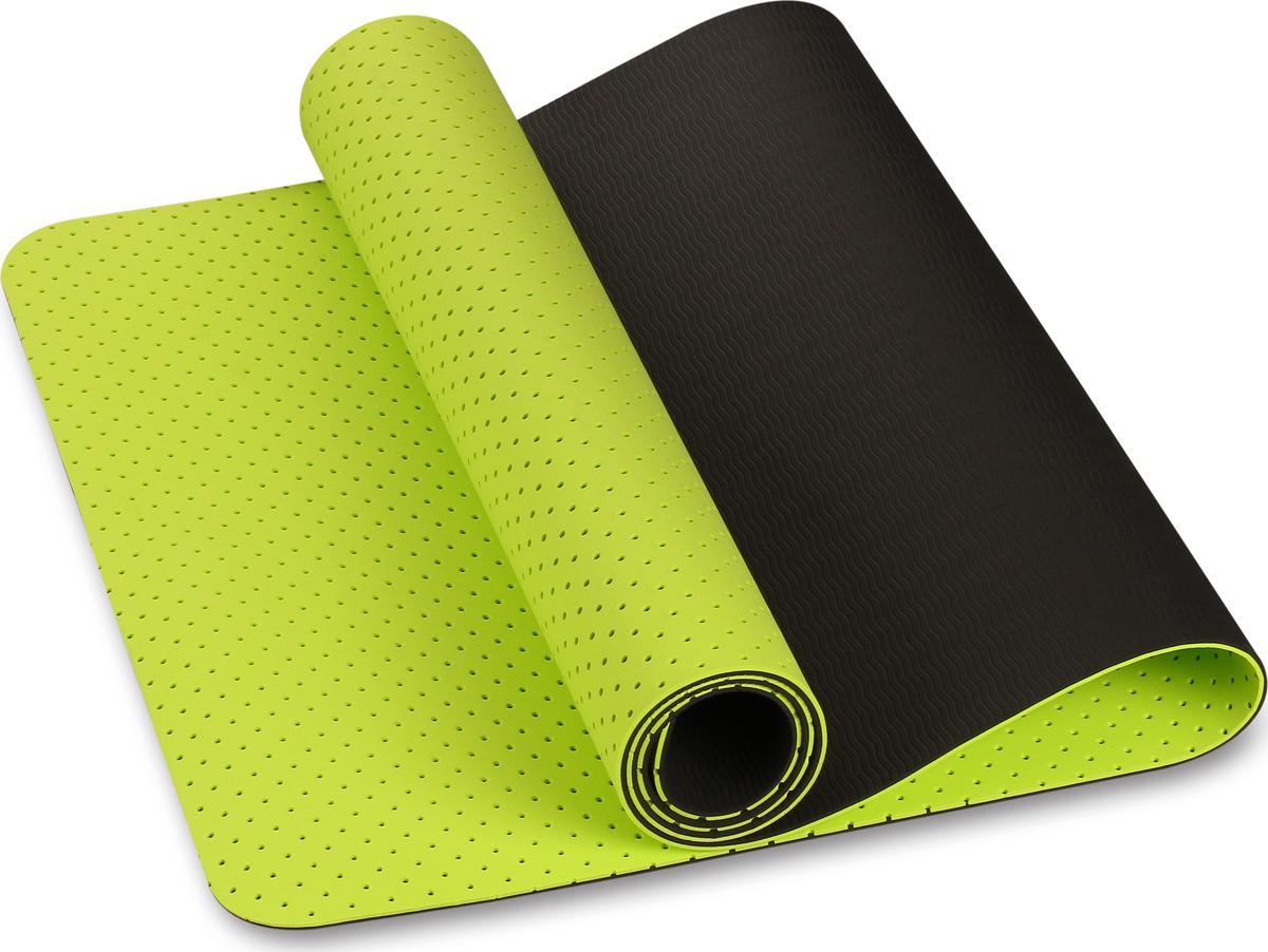 Коврик для йоги и фитнеса Indigo IN105, светло-зеленый, черный, 173 х 61 х 0,5 см