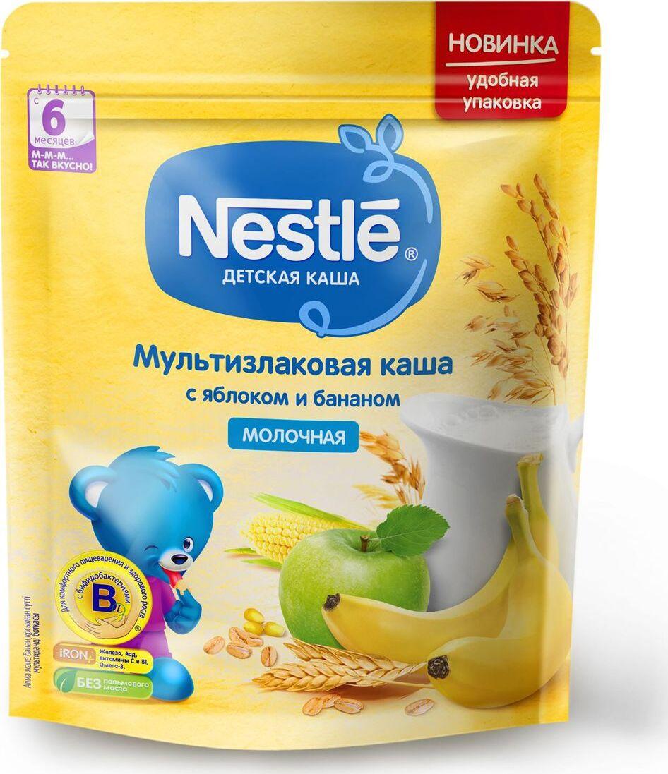 Каша для детей Nestle, молочная, мультизлаковая, с яблоком и бананом, 6 месяцев, 220 г