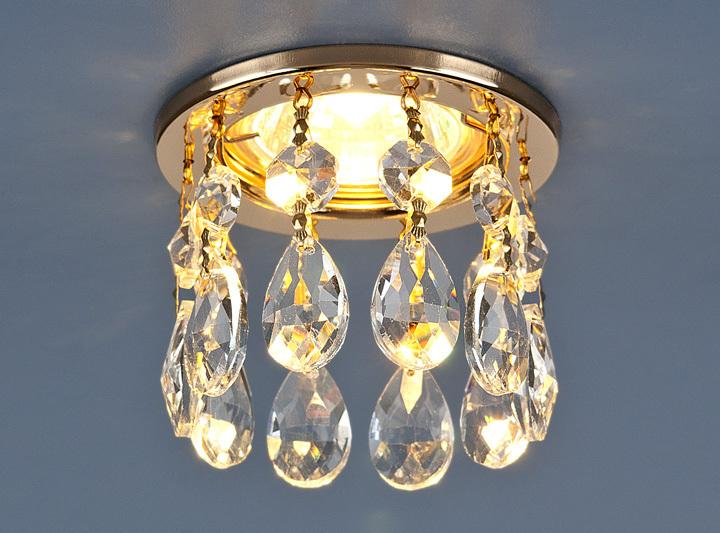 Встраиваемый светильник Elektrostandard точечный с хрусталем 2055 GD/WH, G5.3 встраиваемый светильник elektrostandard 7002 mr16 wh gd белый золото 4690389082528