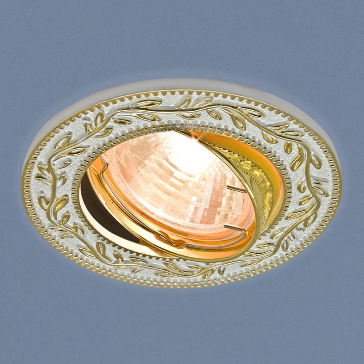 Встраиваемый светильник Elektrostandard Точечный 713 MR16 WH/GD, G5.3 встраиваемый светильник elektrostandard 7002 mr16 wh gd белый золото 4690389082528