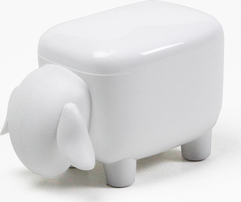 Контейнер для мелочей Qualy Sheepshape, белый с белой крышкой органайзер для мелочей qualy caccessories 20 21 10 см белый с зеленым