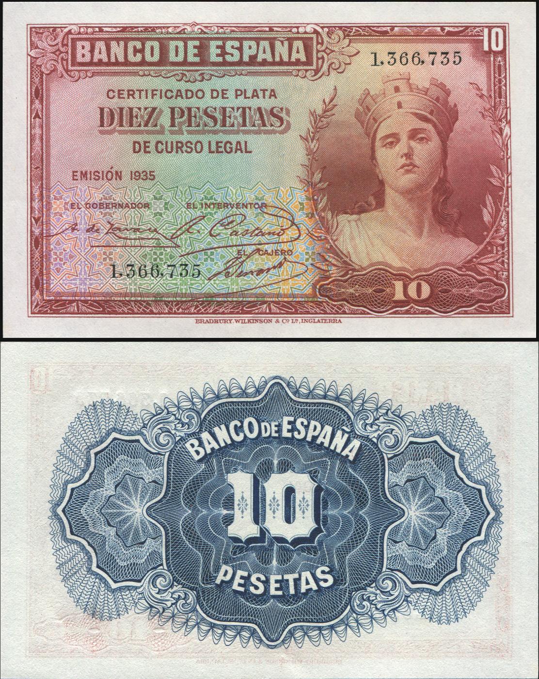 Банкнота. Испания 10 песет. 1935 (1936) UNC. Кат.P.86a