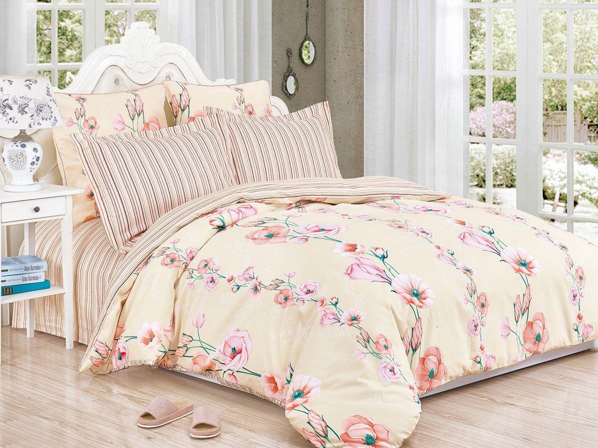Комплект постельного белья Cleo Satin de' Luxe Дарелия, 20/528-SK, бежевый, 2-спальный, наволочки 70x70