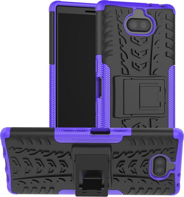 Чехол-бампер MyPads для Sony Xperia 10 Plus противоударный усиленный ударопрочный фиолетовый